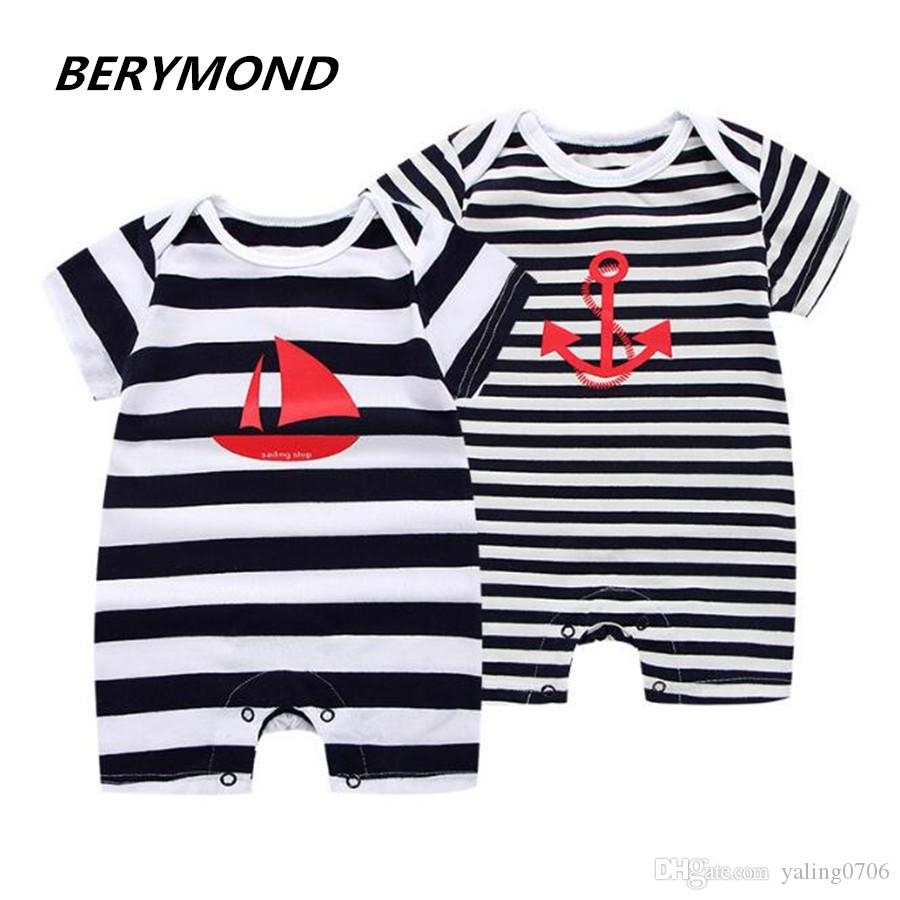 ea185fde57de Brand 2018 New Fashion Baby Romper Unisex Cotton Short Sleeve ...