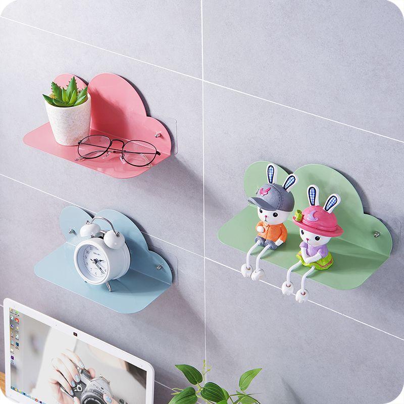 2019 iron cloud design decorative wall shelf hanging storage rack