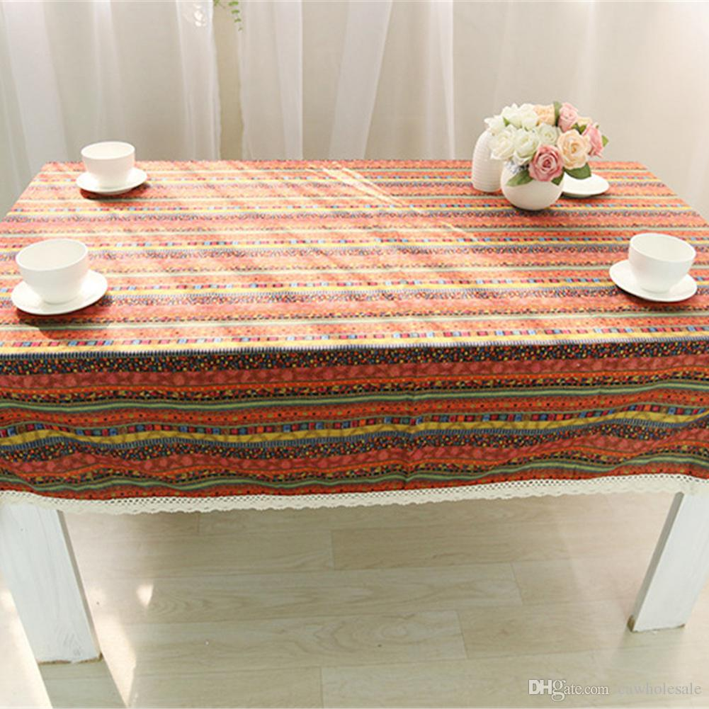 Beau Cotton Linen Table Cloth With Square Table, Dust Tablecloth On Kitchen Table  140*140cm Approx. 55 X 55 Inches  Ethnic Style Stain Resistant Tablecloth  ...