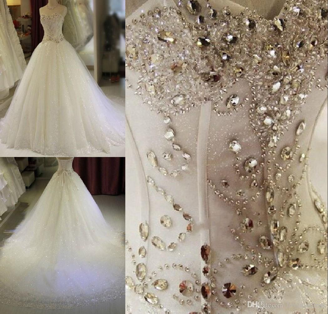 d53d03a9cf44 Luxury Crystal Bling Wedding Dress Ball Gown Tulle Sweetheart Rhinestones  Lace Chapel Train Cheap Long Wedding Gowns For Women Ball Gowns Perth  Ballroom ...