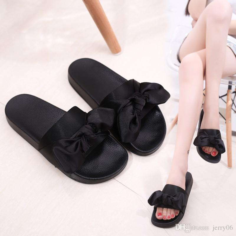 d33cb16a4 Silk Bow Slides Women Summer Beach Shoes Woman No Fur Slippers Flat Heels  Flip Flops Ladies Bohemia Sandals RD912569 White Boots Shoes Uk From  Jerry06