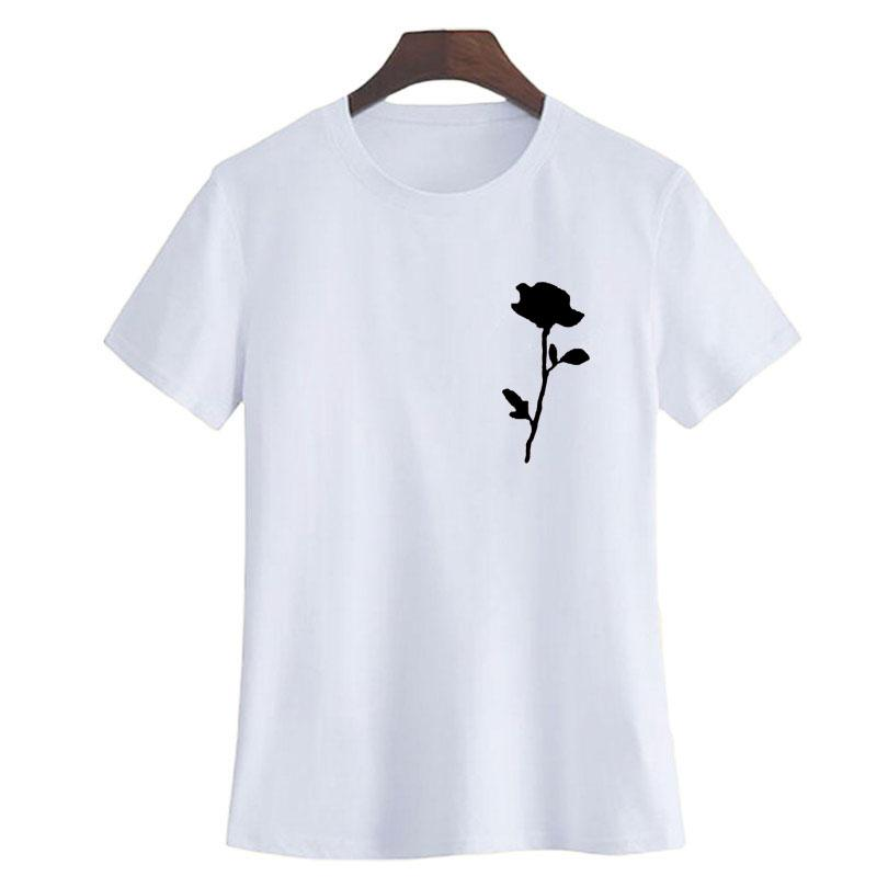 d3ed504c495d Women's Tee Single Rose Pocket T Shirt Tumblr Summer Music Festival Womens  Clothing Red Roses Printing Tshirt Hipster Graphic Tee Shirt Tops