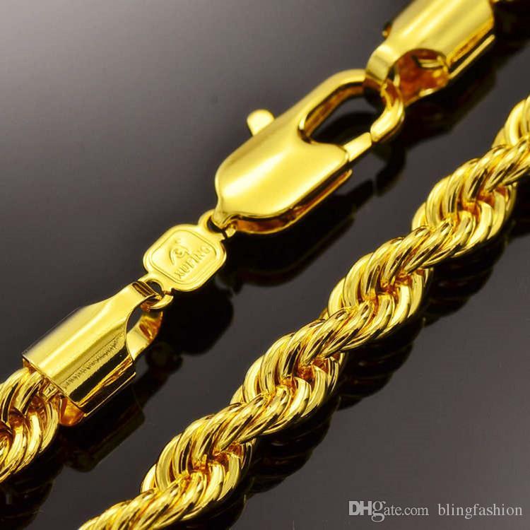 Hip Hop 24 Inç Erkek Katı Halat Zincir Kolye 18 k Sarı Altın Dolu Bildirimi Düğüm Takı Hediye 7mm Geniş