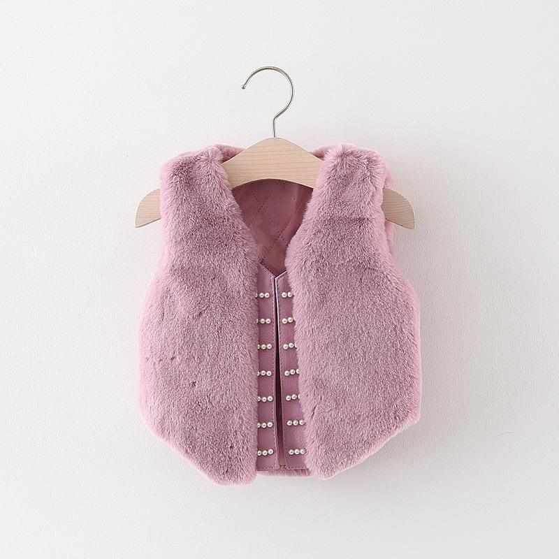 55a99aad4 Fashion Autumn Winter Children Baby Girls Faux Fur Kids Pearl Beaded ...