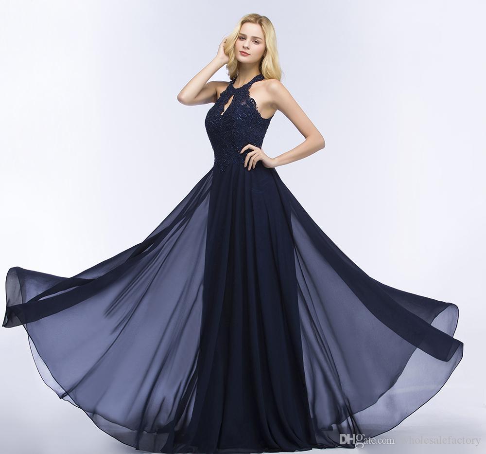2018 Navy Blue Neckholder Chiffon Lange Prom Kleider Spitze Applique Perlen Top Bodenlangen Formelle Party Abendkleider Cps866