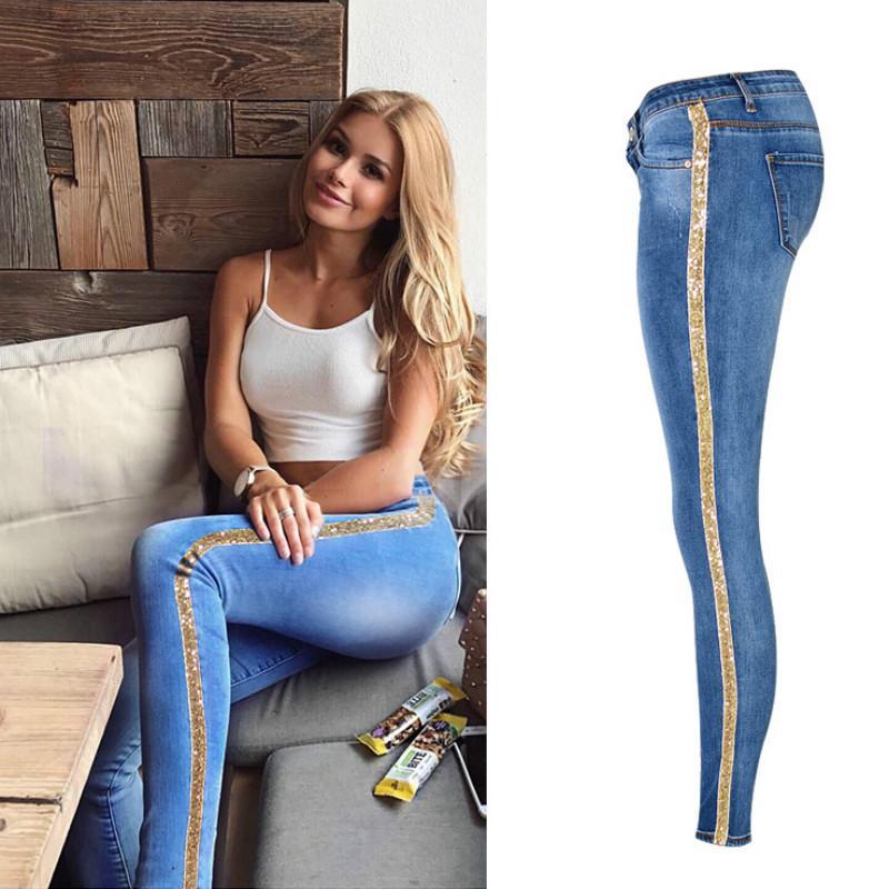 f0279e4c8c Compre Cintura Baja Moda Raya Lateral Flaco Jeans Mujeres Bordado Delgado  Lentejuelas Dorado Vaqueros Mujer Alta Calle Empujar Hasta Calca Denim A   33.51 ...