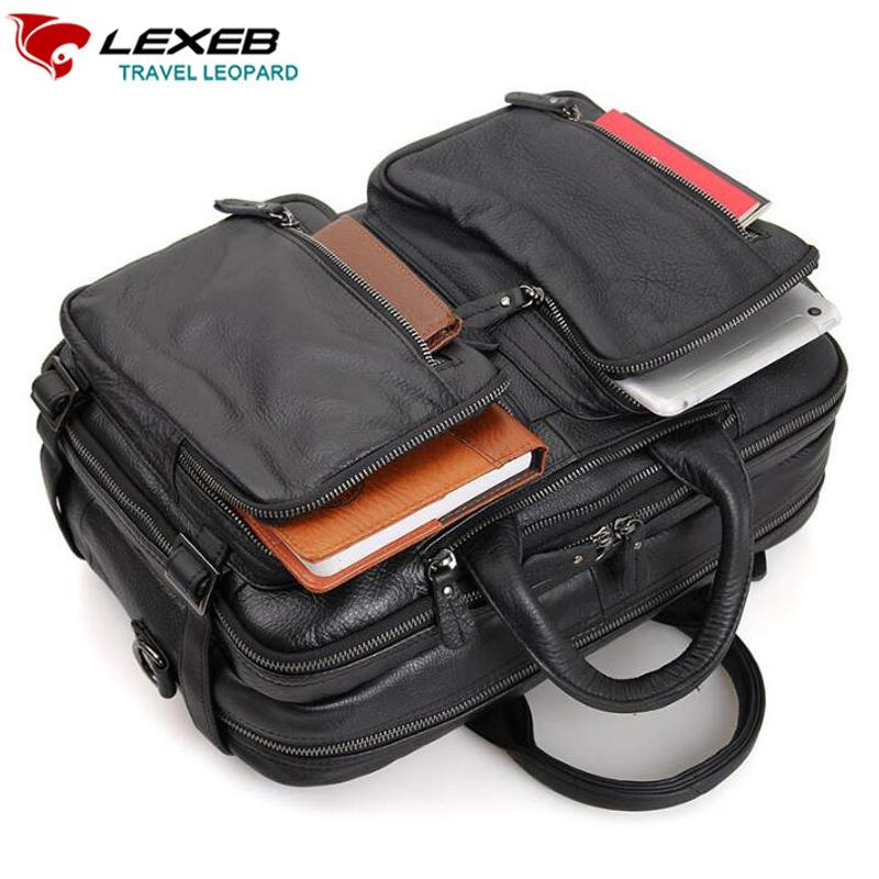 11d56d0a5f LEXEB Cow Leather Laptop Travel Bag For Men Multi Function Overnight  Weekender Duffle Carry On Luggage Large Capacity Tote Black Designer  Suitcase Kids ...