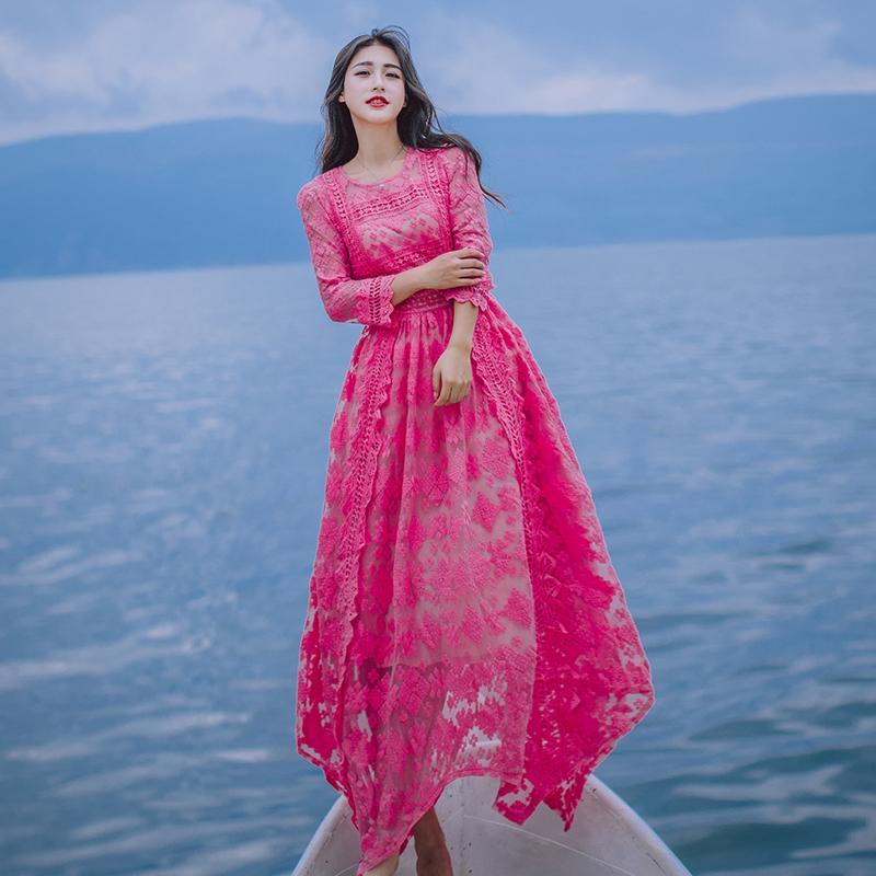 7779adc2be4 Acheter Robe Asymétrique Ourlet Avec De La Dentelle Rose Fushia Couleur  Blanche Pour La Fête Datant De Mariée Demoiselle D honneur Mariage Femmes  Robe De ...