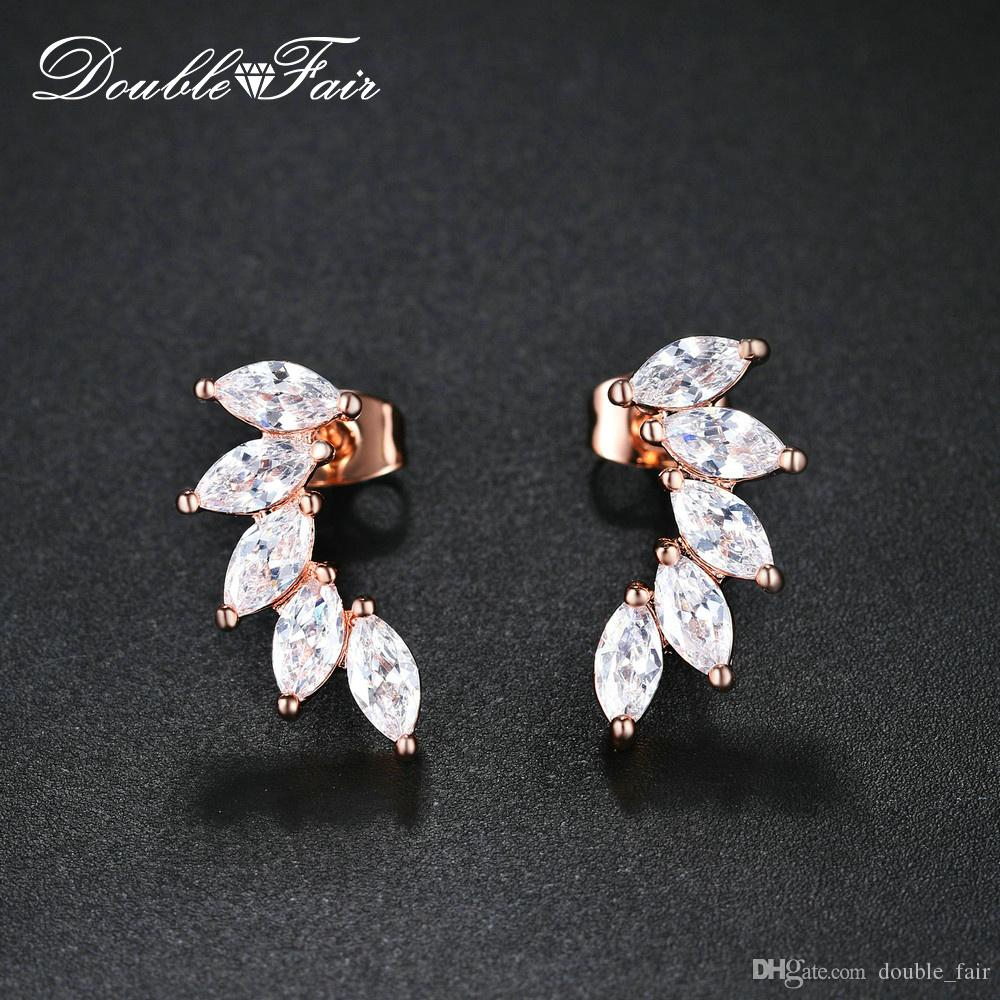 98e18aee9 2019 Fashion Korean Style Oval CZ Diamond With Leaf Stud Earrings Rose  Gold/Yellow Gold/Platinum Plated Copper Jewelry Earring For Women KC164 M  From ...