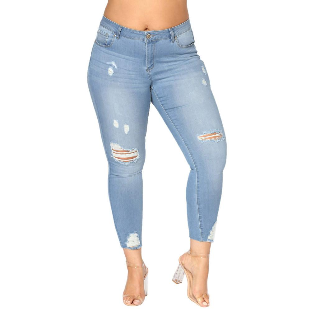 08619814e33 2019 2018 Plus Size Ripped Jeans Slim Denim Destroyed Hole High Waist Jeans  Casual Stretch Pencil Pants Trousers YL NEW D18111301 From Shen8403