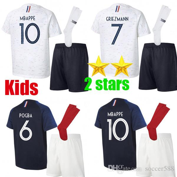 Two Stars GRIEZMANN MBAPPE POGBA Kids Soccer Jersey DEMBELE PAVARD KANTE  2018 World Cup Children Football Shirt GIROUD Boys Maillot Online with   18.4 Set on ... d56a17f29