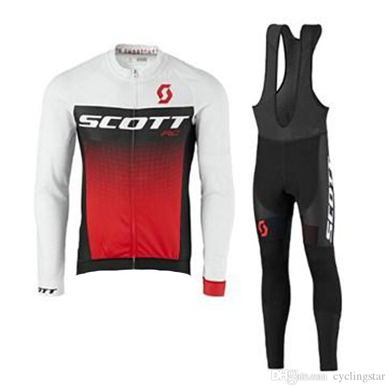 d27a568e3 Hot Sale SCOTT Team Cycling Long Sleeves Jersey Bib Pants Sets Can Be Customized  Good Quality Breathable Mens Cycling Clothing 010902Y SCOTT Cycling Jersey  ...