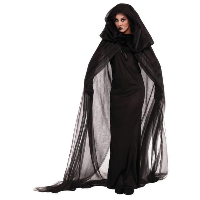 9cc63652fb64 Acquista Halloween Adult Women Spaventoso Fantasmi Costumi Bambino Ragazza  Strega Costume Diavolo Vestiti Abiti Da Bambino Con Cosplay Mantello Lungo  A ...
