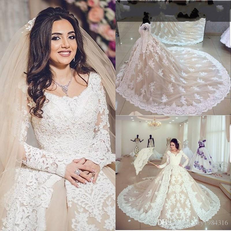 0048a4a29c3 Champagne Ball Gown Wedding Dresses Glamorous Saudi Arabia Long Sleeves  Bridal Dresses Dubai Boat Neck Lace Applique Tulle Wedding Dress Sexy  Wedding ...