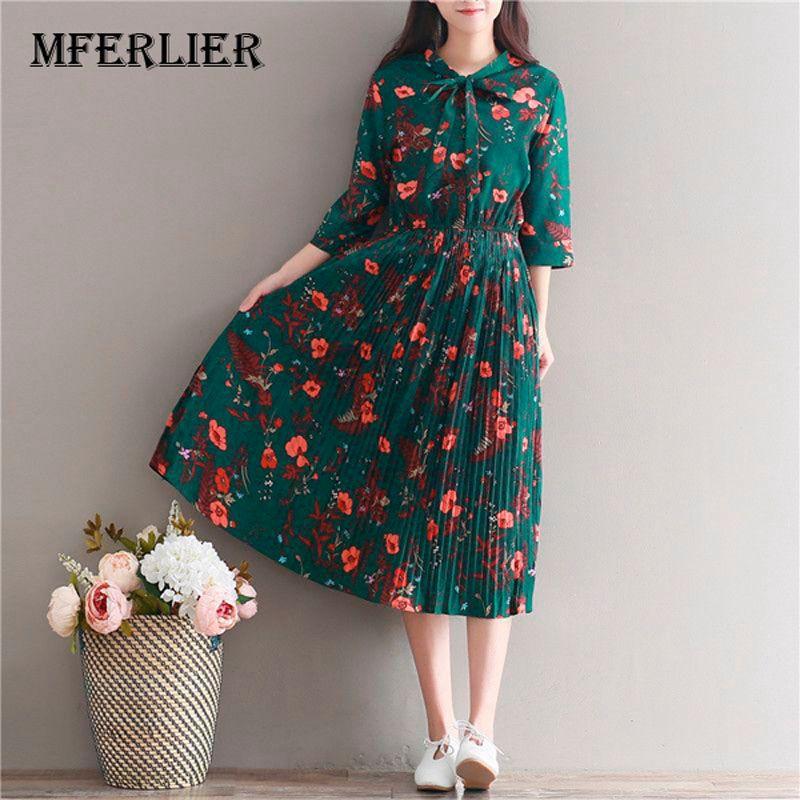 8d5d2e7471c08 Satın Al Toptan Şifon Elbise Kadınlar Casual Vintage Yeşil Çiçek Baskı Üç  Çeyrek Kollu Retro İlkbahar Yaz Yüksek Bel Elbiseler, $28.61   DHgate.Com'da