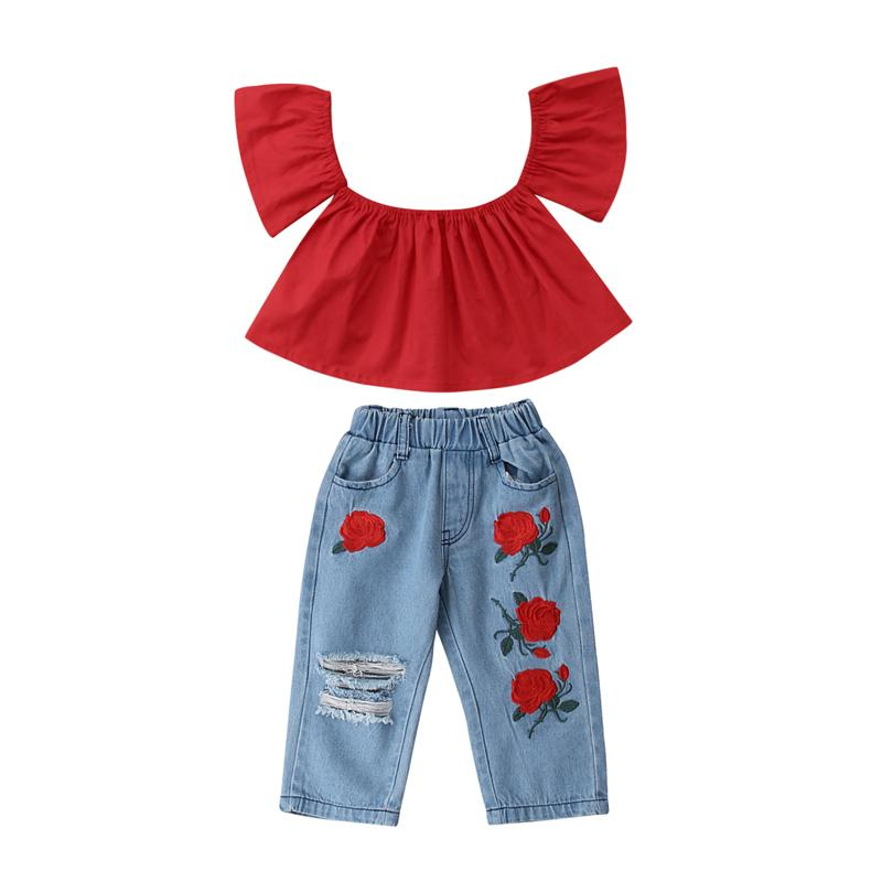 New Fashion Toddler Kids Girls Clothing Off Shoulder Short Sleeve Tops Ripped Denim Pants Outfits Clothes