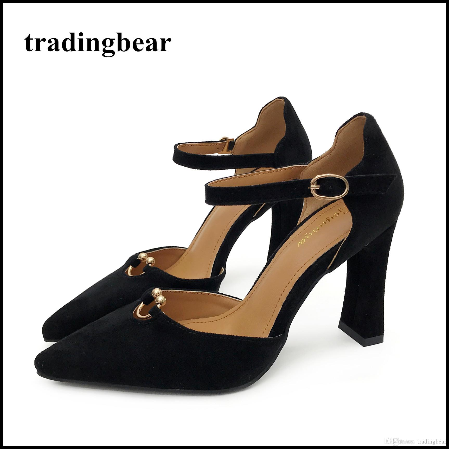 Black Beige Ankle Strap Pointed Toe High Heels Pumps Women Office Shoes  Synthetic Suede Size 35 To 40 Cheap Shoes For Men Italian Shoes From  Tradingbear