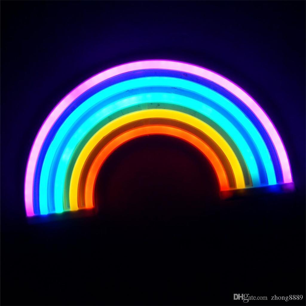 Moda Colorido Rainbow led neon luz do sinal do feriado Xmas party decorações de casamento kids room night lamp home Decor decoração da parede