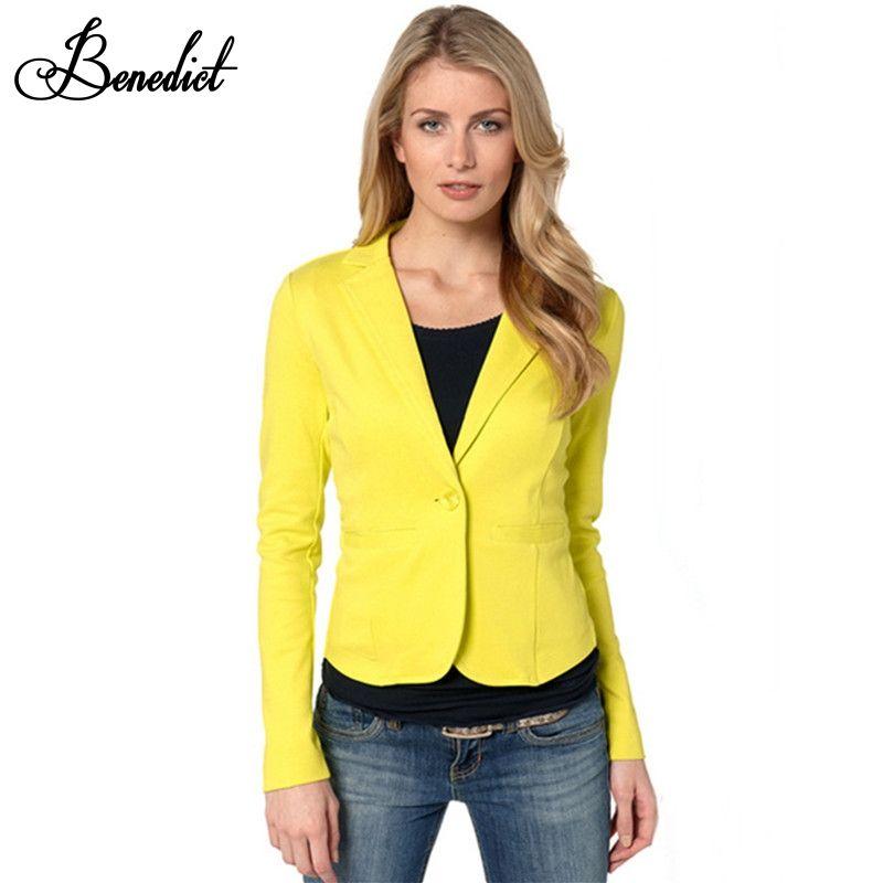 4a20afdb10 Benedict Ladies Yellow Blazer Feminino Plus Size Formal Jacket Women s  White Blaser Rosa Female Blue Women Suit Office Ladies