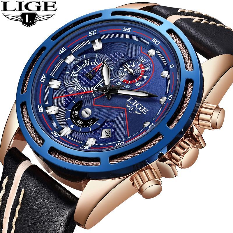 619d5d67519 Compre 2018 LIGE Homens Relógios Top Marca De Moda De Luxo Relógio Do  Esporte Dos Homens De Couro À Prova D  Água De Quartzo Relógio De Pulso  Relogio ...