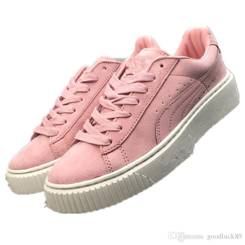 the best attitude 27bea d1565 factory price women Rihanna Trace Varsity Riri Fenty Platform Creeper  Velvet Pack Burgundy Grey pink Color Brand Ladies Classic Casual Shoes