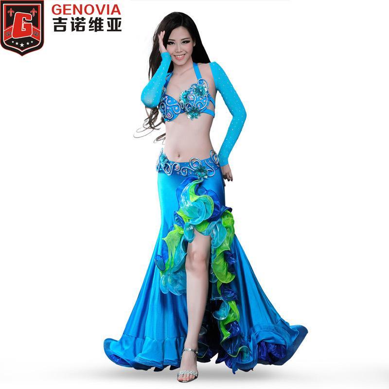 e9a69376d Compre Desempenho Mulheres Dança Do Ventre Traje 4 Peças Conjunto Completo  Bellydance Blusa Top Bra Saia Cinto 34B   C 36B   C 38B   C Dancewear De  Houmian