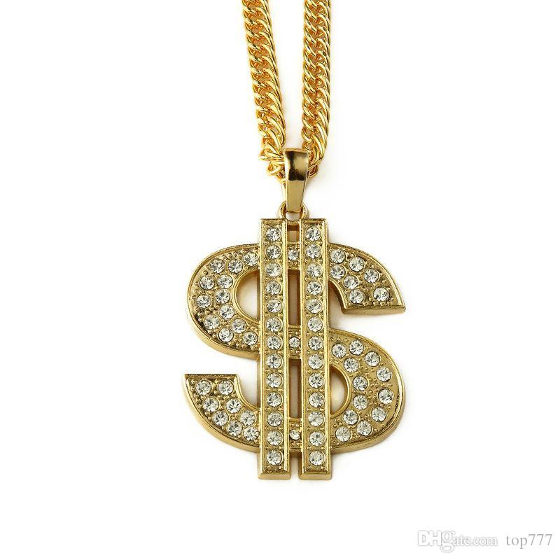 Wholesale 2018 jewelry pendants necklaces dollars pendant necklace wholesale 2018 jewelry pendants necklaces dollars pendant necklace gold big dollar sign 90cm long chain hip hop jewelry for men gift red pendant aloadofball Images