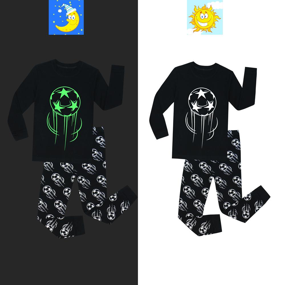 Glow in the Dark Football Boys Pajamas Children Full Sleeve Glow in Dark 2 Piece Pajama Cotton Pyjamas Kids Pijamas Unicorn PJS