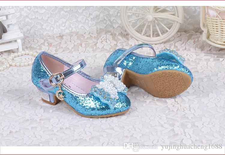 Kinder Prinzessin Sandalen Kinder Mädchen Hochzeit Schuhe High Heels Kleid Schuhe Bowtie Gold Schuhe Für Mädchen Weiß Rosa