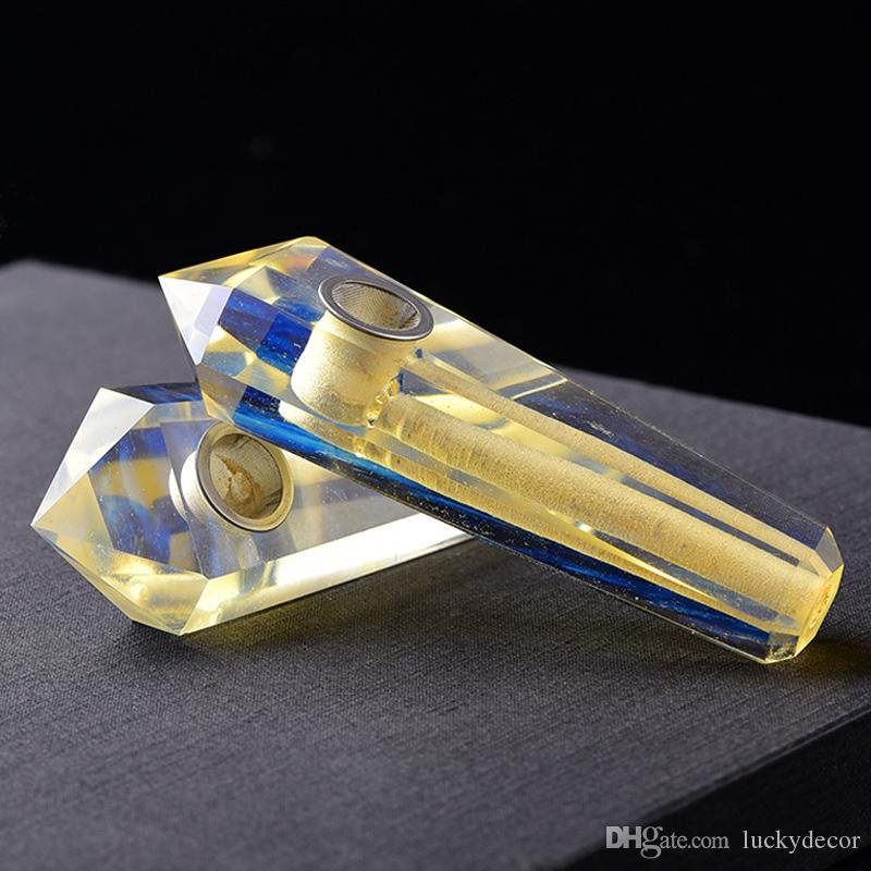 Sarı Eritme Metafizik Şifa Kristaller Boru Güzel Temizle Sarı Kokusu Kuvars Noktası Değnek Sarı Erimiş Çakra Taşları Sigara için Borular