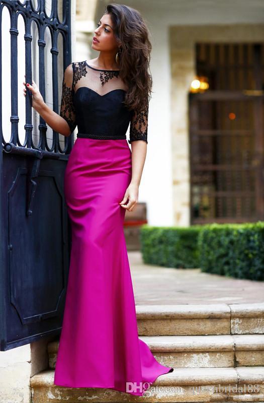 Черное кружево Половина рукава совок шеи вечерние платья mermiad длинные атласные открытой спиной пром платья