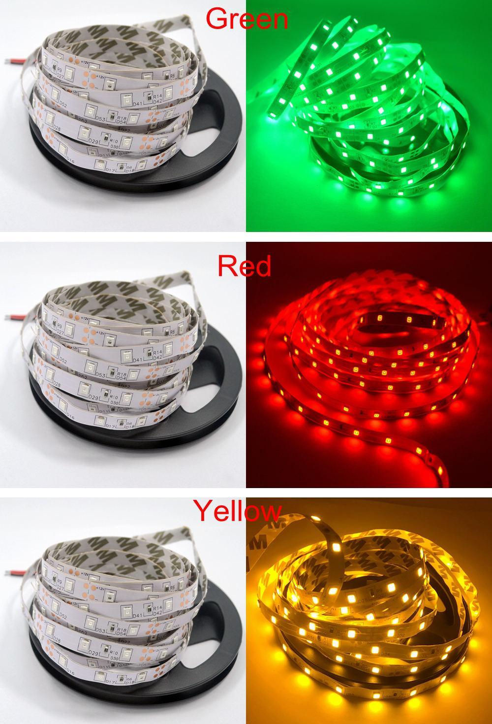 5m 2835 No Tira de Luz Led RGB RGB DC 12V 300Leds Luz de Iluminación de Vacaciones Flexible Decoración para el Hogar Cinta de Cinta Lámpara de Escritorio