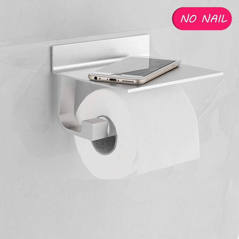 NO Drills Self Adhesive Toilet Paper Holder Tissue Alumimum Paper Roll Towel Holder with Mobile Phone Storage Shelf