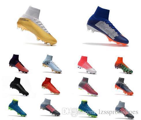 ddf06dda52279 Compre Azul CR7 Chuteiras De Futebol Mercurial Superfly FG V SX Neymar  Crianças Sapatos De Futebol Alto Tornozelo Cristiano Ronaldo Homens Botas De  Futebol ...