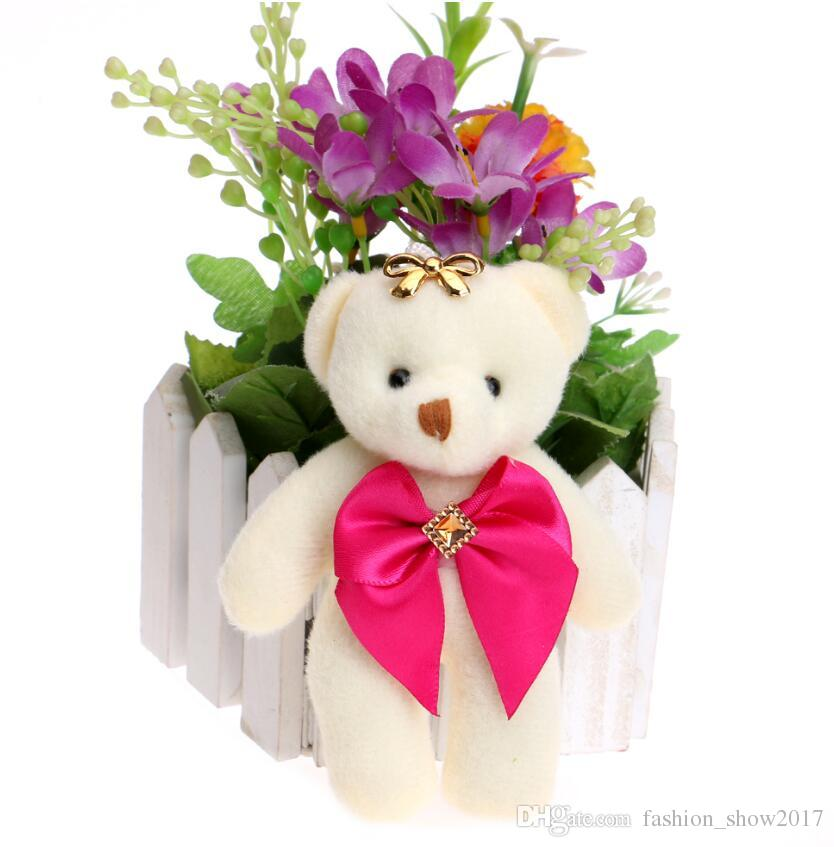 Christmas Gift Candy Bow Bear Plush Toys Satin Cartoon Bouquet Plush Bear Doll Wedding Child Toy Phone Key Pendant