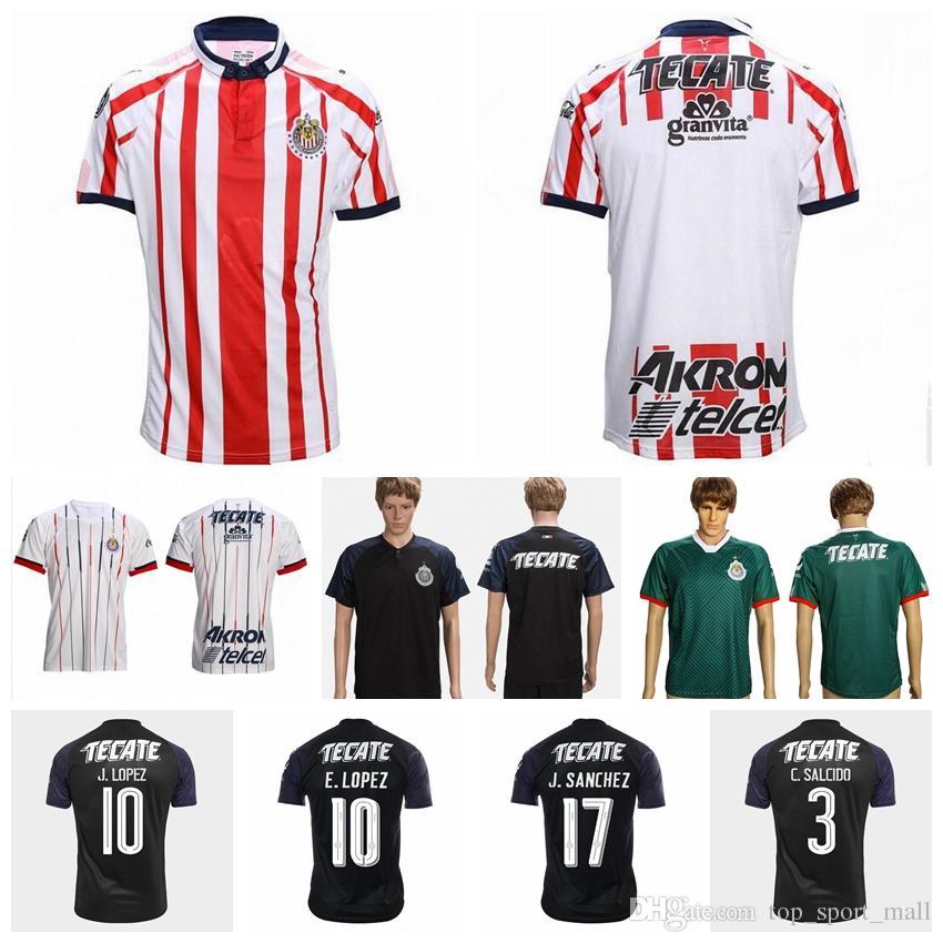 49c8a4422 Guadalajara Soccer Jersey CD Chivas Hombres 18 19 Temporada 6 HERNANDEZ 17  SANCHEZ 7 PINEDA 3 SALCIDO Kits De Camiseta De Fútbol Hacer A Medida Por ...