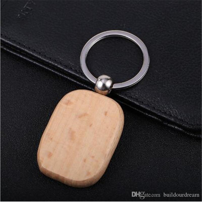 Einfachen Stil Holz Schlüsselanhänger Schlüsselanhänger DIY Holz Runde Quadrat Herz Oval Rechteck Form Schlüsselanhänger Handgemachtes Keychain Geschenk