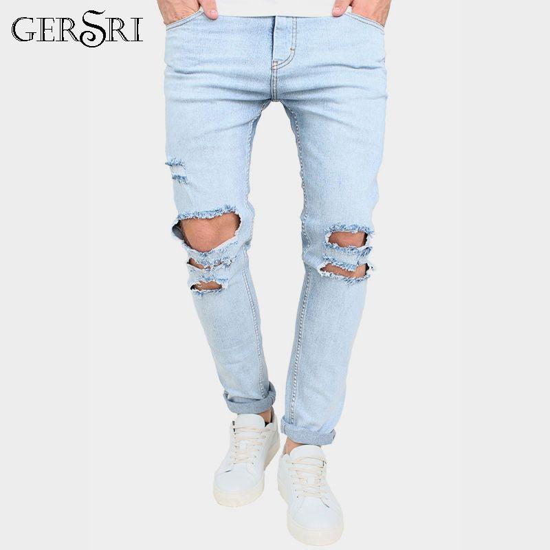 7309a5d82821 Gersri Destroyed Men Jeans Slim Fit Denim Pants Men s Jeans Teenager ...