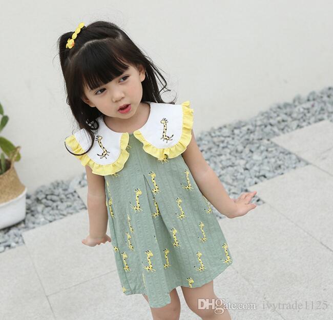 2019 New Summer Girls Dress Pet Pan Collar Giraffe Print Dress Baby Girl S  100% Cotton Sleeveless Elegant Dress Kids Clothing From Ivytrade1125 9ce759fb3