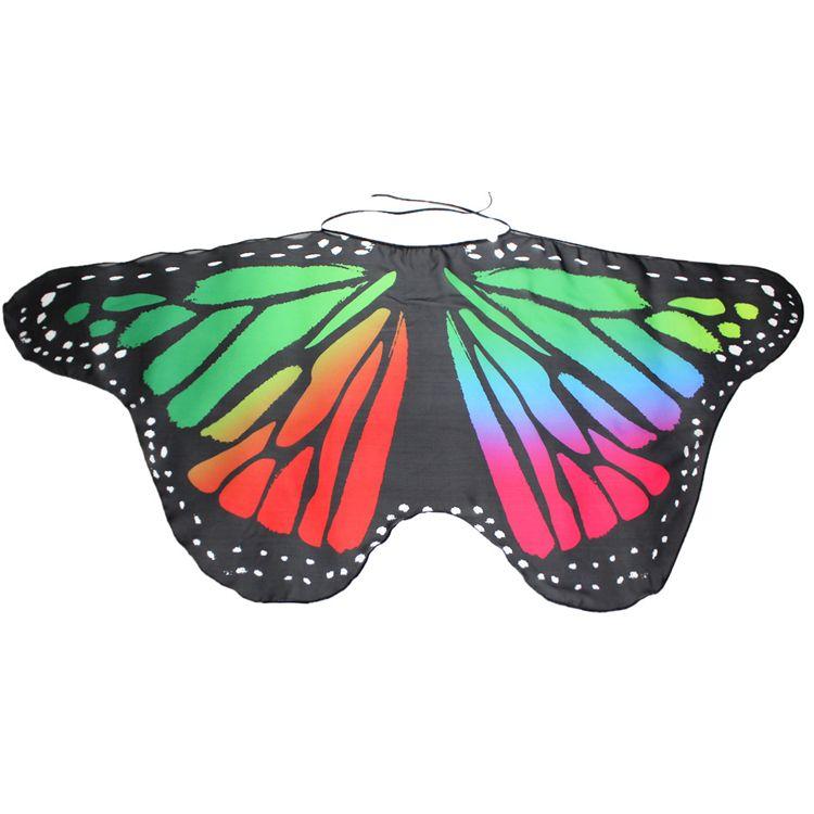 Kids Girl Princess Cloak Fairy Butterfly Costume Wings Monarch Chiffon Children Fancy Cape Dress Gift Festival Pixie Cosplay animal scarf