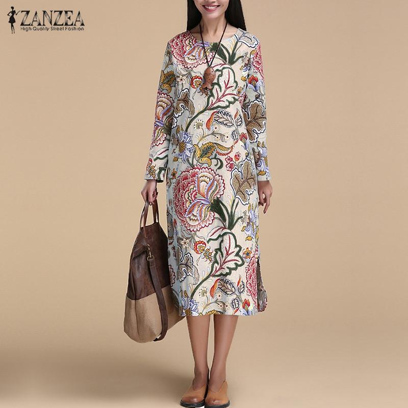 d7322c651f4 2019 ZANZEA Spring Autumn Dress Vintage Women Pullover Loose Dress Casual  Long Sleeve O Neck Dresses Robe Cotton Vestidos Plus Size D18110906 From  Lizhang02 ...