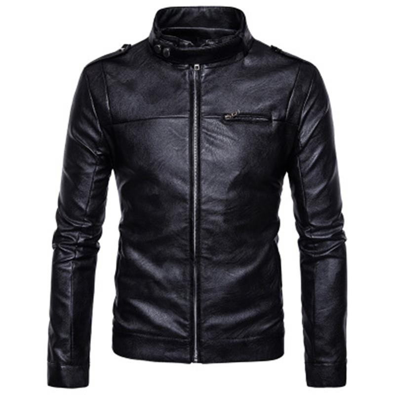 6a1af34ec95a5 2018 New Men'S Jacket Leather Casual Versatile Leather Jacket Trend LXJ02  Black Leather Bomber Jacket Mens Black Coat From Hongzhang, $70.18|  DHgate.Com