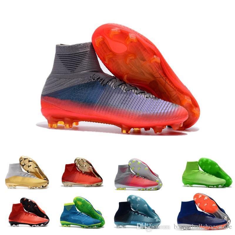 8258f79e6f3 Original Mens Mercurial Superfly V FG AG Women CR7 Ronaldo Soccer Cleats  High Ankle Soccer Shoes Kids Hypervenom Football Boots Mercurial Superfly Fg  ...