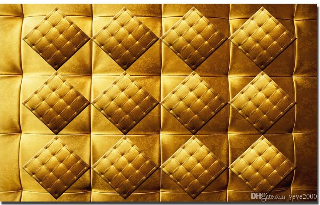 wallpaper for walls 3 d for living room Golden soft leather soft bag KTV decorative wall 3d wallpaper walls