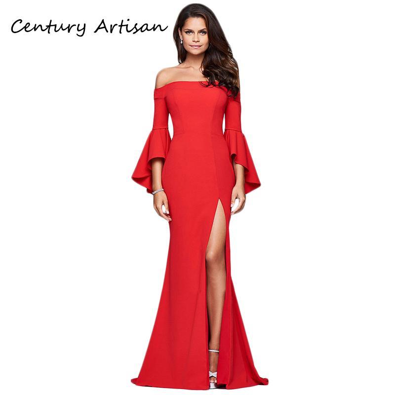 09dcbe3061e83 Satın Al CYAN Uzun Yaz Elbise Kadınlar 2018 Seksi Kapalı Omuz Bölünmüş Maxi  Elbise Zarif Düğün Parti Nedime Elbiseler Kadın Vestidos, $51.03 |  DHgate.Com'da