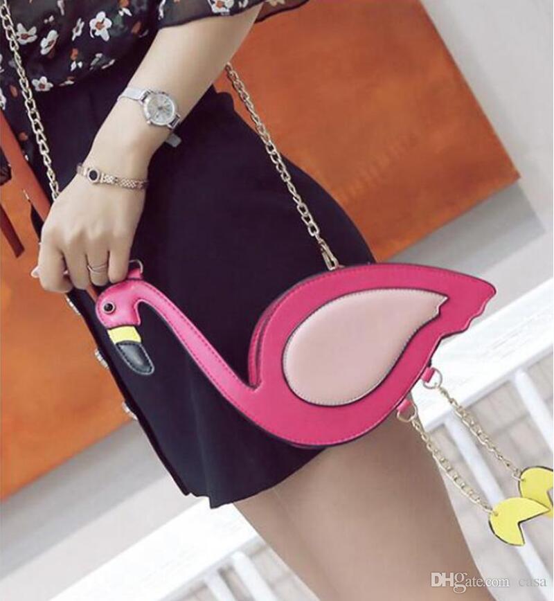Cute Flamingos Shaped Womens Chain Cross Body Shoulder Bag Purse Clutch Fashion Messenger Mobile Phone Bag PU Handbag