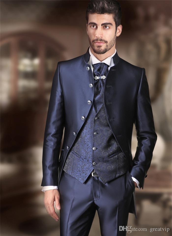 gro handel g nstige blau herren anzug fit br utigam. Black Bedroom Furniture Sets. Home Design Ideas