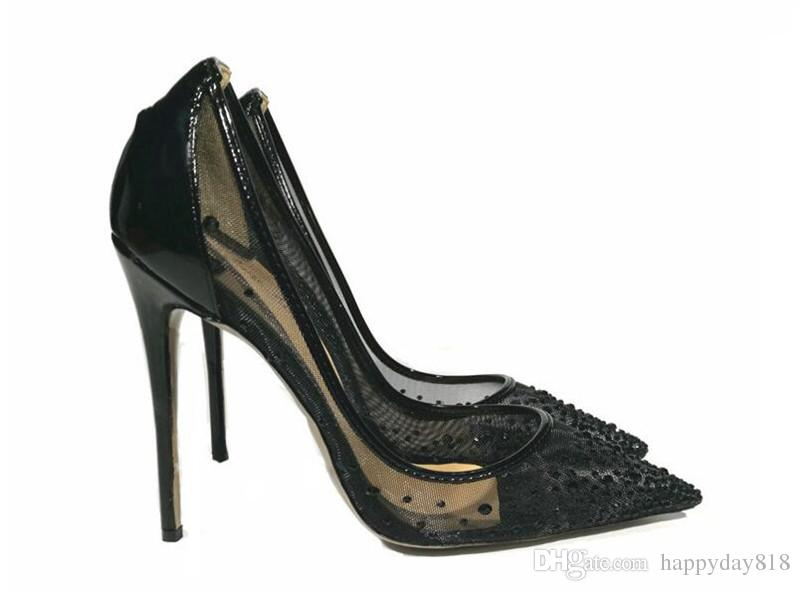 bride wedding High Heels Sexy Black Summer mesh crystal strass Pointy toe shoes womens pumps pointed toe ladies shoes