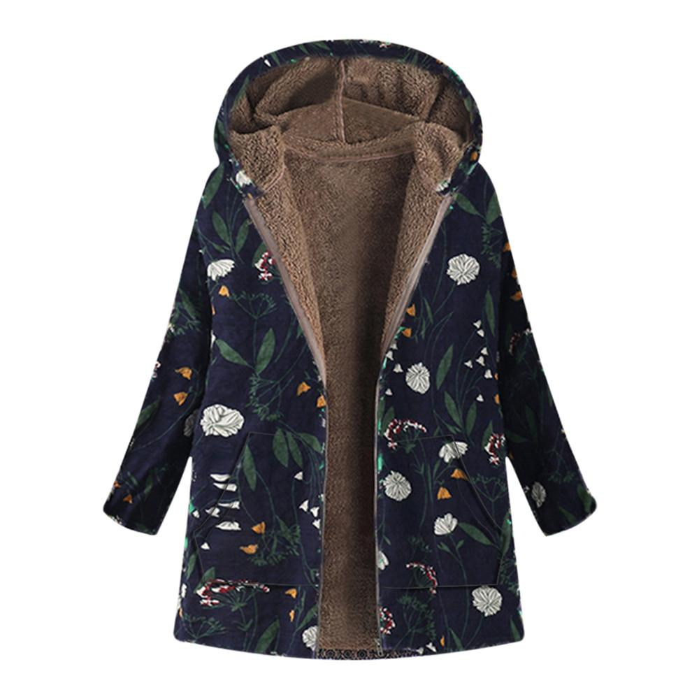 Plus Size 5XL Winter Jacket Long Coat Women Fashion 2018 Ukraine Floral Print Hooded Woman Jackets Parka Womens Tops And Blouses