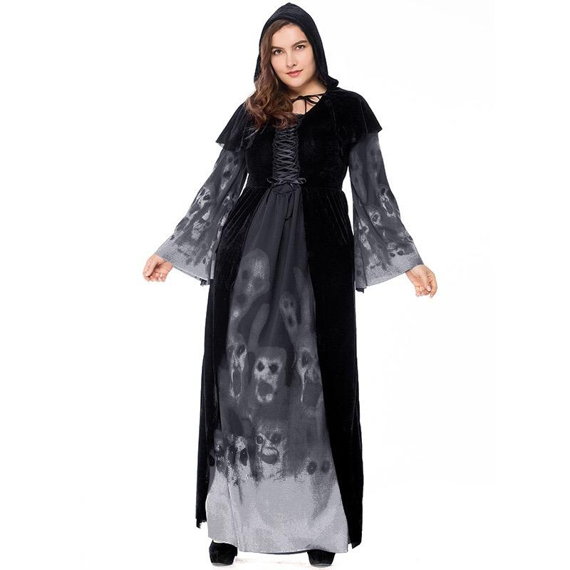 Ladies Halloween Gothic Devil Witch Skull Horror Costume Scary Cosplay Black Long Gown Robe Dress For Adult Women Plus Size XXL